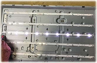 Наиболее часто встречающаяся неисправность LED телевизоров.  Подсветка